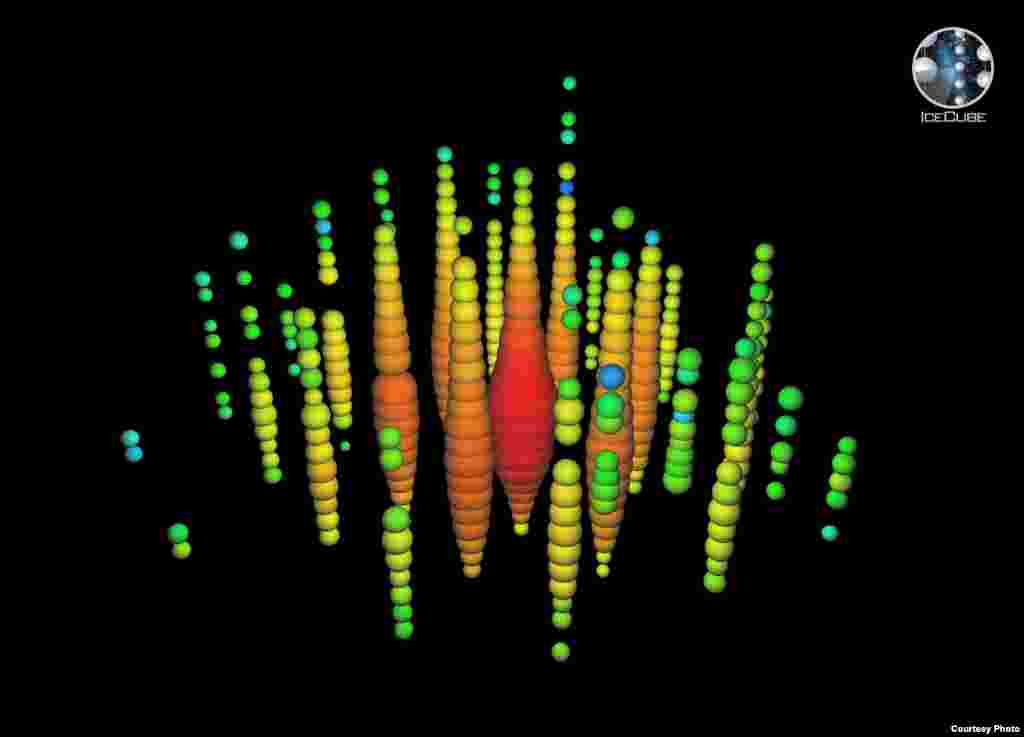 This digital image shows the highest energy neutrino ever observed, with an estimated energy of 1.14 petaelectronvolts (PeV), detected by the IceCube Neutrino Observatory at the South Pole on Jan. 3, 2012. (IceCube Collaboration)
