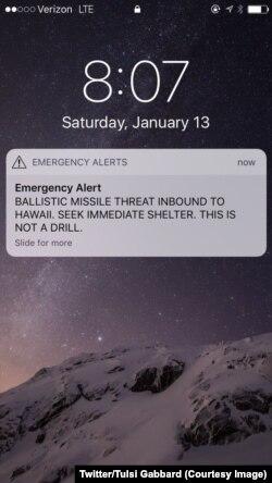 """夏威夷人13号星期六收到了一个""""弹道导弹威胁""""警报,不过这个警报很快被证明是误发的。"""