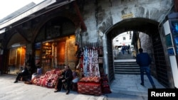 The Arasta Bazaar near the Blue Mosque, is empty of people, following an explosion in Istanbul, Turkey, Jan. 12, 2016.