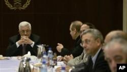 巴勒斯坦領導人阿巴斯十二月三十一日在西岸城市拉馬拉出席巴勒斯坦解放組織首腦 會議