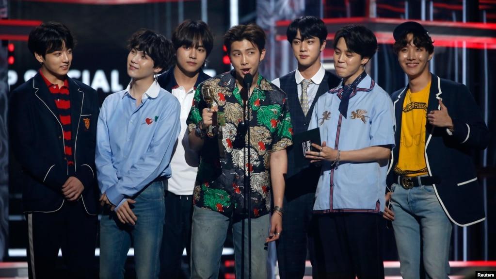 Bts Accepts The Top Social Artist Award At The  Billboard Music Awards Las Vegas