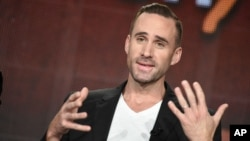 "Joseph Fiennes speaks on stage during the ""Shakespeare Uncovered"" panel at the PBS 2015 Winter TCA on Jan. 20, 2015, in Pasadena, Calif."