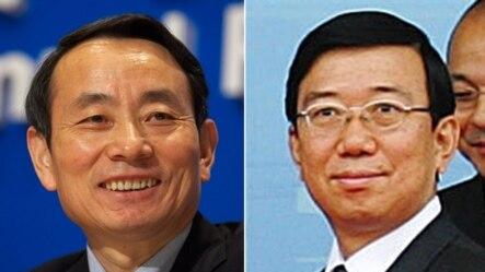 原中石油集团总经理蒋洁敏(左)和原四川省委副书记李春城2015年10月12日被湖北省法院判犯有腐败罪
