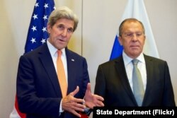 FILE - U.S. Secretary of State John Kerry and Russian Foreign Minister Sergey Lavrov, answer reporters' questions on Sept. 9, 2016, in Geneva, Switzerland, before they begin a bilateral meeting focused on Syria.