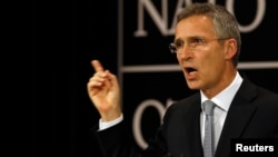 NATO Secretary General Jens Stoltenberg, shown at a news conference in Brussels, July 13, 2016, said NATO and Russia remain at loggerheads over Ukraine but will consider a proposal to reduce the risk of an accidental military confrontation in Baltic airspace.