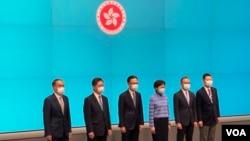 香港特首林鄭月娥4月22日率領5名新任局長會見傳媒。(美國之音湯惠芸)