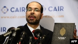 FILE - Council on American-Islamic Relation (CAIR) National Executive Director Nihad Awad answers question during a press conference in Washington, D.C., Sept. 9, 2010.