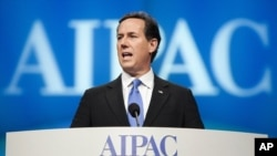 Republican presidential candidate Rick Santorum speaks at the American Israel Public Affairs Committee (AIPAC) policy conference in Washington, March 6, 2012.