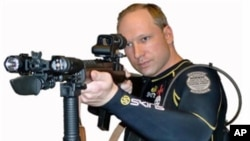 A picture of Anders Behring Breivik taken from a book downloaded from a link posted on a Norwegian discussion website entitled '2083 - A European Declaration of Independence', is seen in this screen grab made July 23, 2011