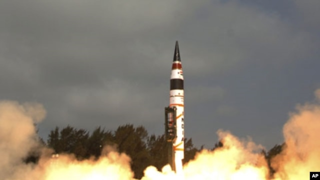 Photograph released by the Indian Ministry of Defense shows India's Agni-V missile, with a range of 5,000 kilometers (3,100 miles), being launched from Wheeler Island off India's east coast, April 19, 2012.