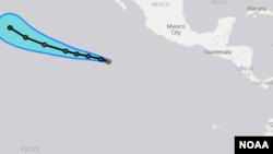 Trayectoria esperada de la tormenta tropical Blas que se convertirá en huracán el lunes antes del mediodía.