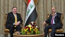 برهم صالح (راست) رئیس جمهور عراق و مایک پمپیو، وزیر خارجۀ ایالات متحدۀ امریکا