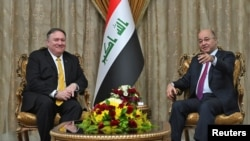 Menlu AS Mike Pompeo bertemu dengan Presiden Irak, Barham Salih di Baghdad, Irak, dalam kunjungan mendadak ke Timur Tengah, 9 Januari 2019.