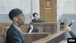 Sketsa gambar persidangan tersangka pelaku bom pakaian dalam yang gagal, Umar Farouk Abdul Mutallab, di Detroit, Michigan.