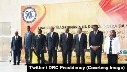 Les chefs d'Etat et de Gouvernement de la SADC lors du sommet de la Double Troïka, à Luanda, Angola. 24 avril 2018. (Twitter/Présidence RDC)