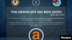 Pejabat penegak hukum AS mengumumkan penangkapan dua orang Israel yang menjadi operator situs web yang mengarahkan pengguna ke pasar-pasar online gelap, seperti AlphaBay Market, seperti dalam gambar, yang disita Biro Penyelidikan Federal AS (FBI) pada 2017.