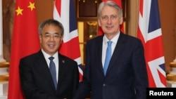 中國副總理胡春華與英國財政大臣哈蒙德2019年6月17日在倫敦會晤。