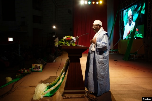 Presidential candidate Ibrahim Boubacar Keita speaks at a campaign rally in Bamako, Mali, July 21, 2013.