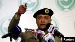 Juru bicara Kementrian Dalam Negeri Mansour al-Turki saat memberikan keterangan pers di Riyadh (2/9).