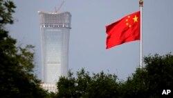 중국 베이징 중앙상업지구에 걸린 중국 국기 (자료사진)