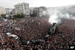 Algerians gather in the the May 1st square in the capital as they welcome the Algerian national team on Saturday. July 20, 2019, following their victory in the 2019 Africa Cup of Nations (CAN).
