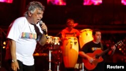 FILE - Nicolas Reyes (L) of Gipsy Kings performs during the 21st Annual St. Lucia Jazz Festival at Pigeon Island National Landmark, May 11, 2012.