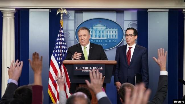 2020年1月10日,美国国务卿蓬佩奥和财长姆努钦在白宫宣布对伊朗的新制裁。