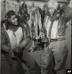 Tuskegee Airmen William Campbell and Thurston Gaines are pictured in Italy in 1945.