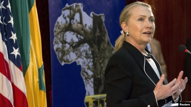 U.S. Secretary of State Hillary Clinton speaks at the University of Dakar, in Dakar, Senegal, August 1, 2012.