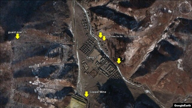 "OneFreeKorea says this Google Earth screenshot shows the No. 12 Reeducation Camp at ""Chongo-ri"" or ""Jeongeo-ri"" in North Hamgyong Province, North Korea. (Image: Google Earth and Digital Globe, via OneFreeKorea)"