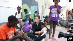 Soledad O'Brien during filming for the documentary 'Rescued' at the Lighthouse orphanage in Port-au-Prince, Haiti
