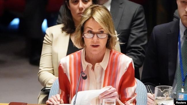 美国驻联合国代表克拉夫特在联合国总部发表讲话。(2020年2月28日)