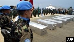 Sèkèy ki te genyen kadav 9 sòlda l'ONU ki te pèdi lavi yo nan Repiblik Demokratik Kongo nan mwa fevriye 2017.