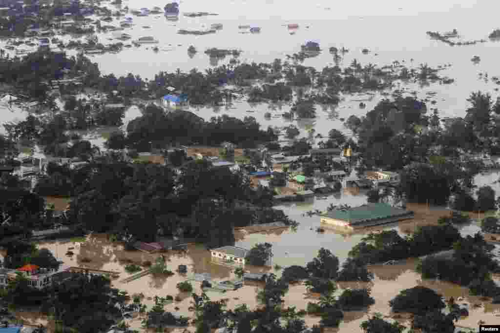 An aerial view of a flooded village in Kalay township, in the region of Sagaing, Aug. 2, 2015.