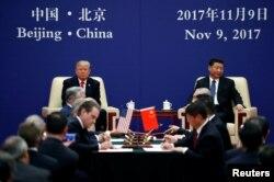 آقای ترامپ و رئیس جمهوری چین در چند نشست اقتصادی نیز در پکن حضور یافتند.