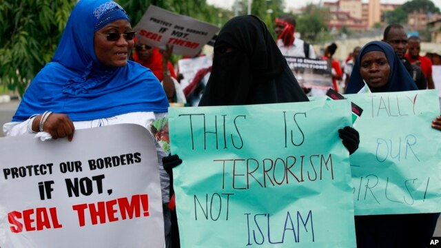 Muslim women attend a demonstration calling on the government to increase efforts to rescue the 276 missing kidnapped school girls of a government secondary school Chibok, in Lagos, Nigeria, May 5, 2014.