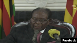 Screen shot of Mugabe live speech from ZBC news online.
