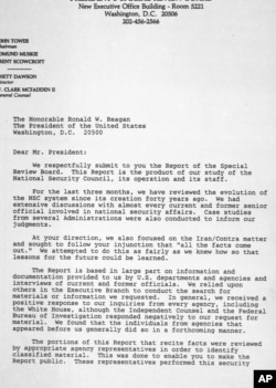 This is the first page of a cover letter to President Reagan from members of the President's Special Review Board concerning their report on the National Security Council, seen Feb. 26, 1987.