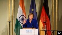 앙겔라 메르켈 독일 총리가 30일 베를린에서 열린 2017 인도-독일 비지니스 서밋에서 연설하고 있다.