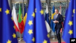 European Council President Donald Tusk arrives for an EU summit at the Europa building in Brussels, Dec. 14, 2017.
