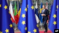 Donald Tusk arrivant au sommet européen à Bruxelles, le 14 décembre 2017.