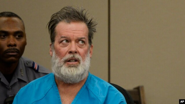 FILE - Robert Lewis Dear appears in court in Colorado Springs, Colorado, Dec. 9, 2015.