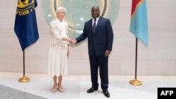 Mokambi ya Fonds monétaire international Christine Lagarde (G) na bokutani na président ya RDC Félix Antoine Tshilombo na ndako ya FMI na Washington, 5 avril 2019.