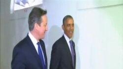 奧巴馬與英國首相卡梅倫共進工作晚餐