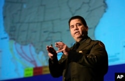 FILE - David Aguilar, U.S. Customs and Border Protection's National Border Patrol Chief, speaks at the Texas Homeland Security conference San Antonio, Nov. 28, 2006.