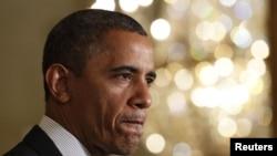 美國總統奧巴馬星期五在白宮發表有關美國財政赤字的聲明