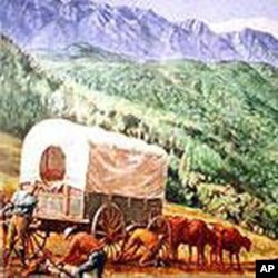 迁徙的摩门教徒行列进入大盐湖山谷