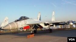 今年8月莫斯科航展上的蘇-35戰機(美國之音白樺)。