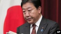 Thủ tướng Nhật Bản Yoshihiko Noda nói chuyện tại một cuộc họp báo ở Tokyo 24/8/12
