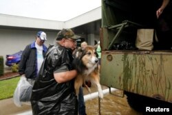 Volunteers load pets into a collector's vintage military truck to evacuate them from floodwaters from Hurricane Harvey in Dickinson, Texas, Aug. 27, 2017.
